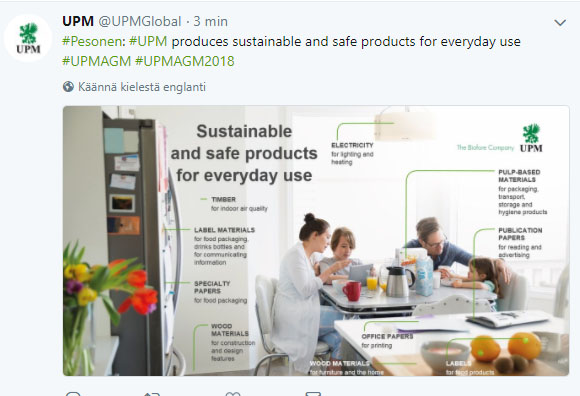 UPM produces sustainable and safe solutions for everyday use